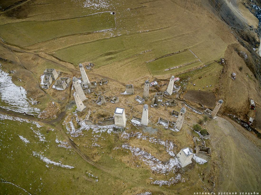 башенный комплекс Эрзи, Ингушетия, Джейрахский район, фотографии с дрона