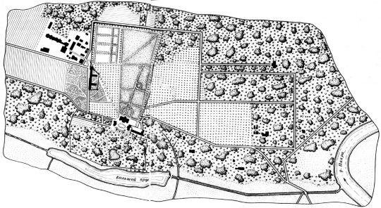 Схема усадьбы Горки.