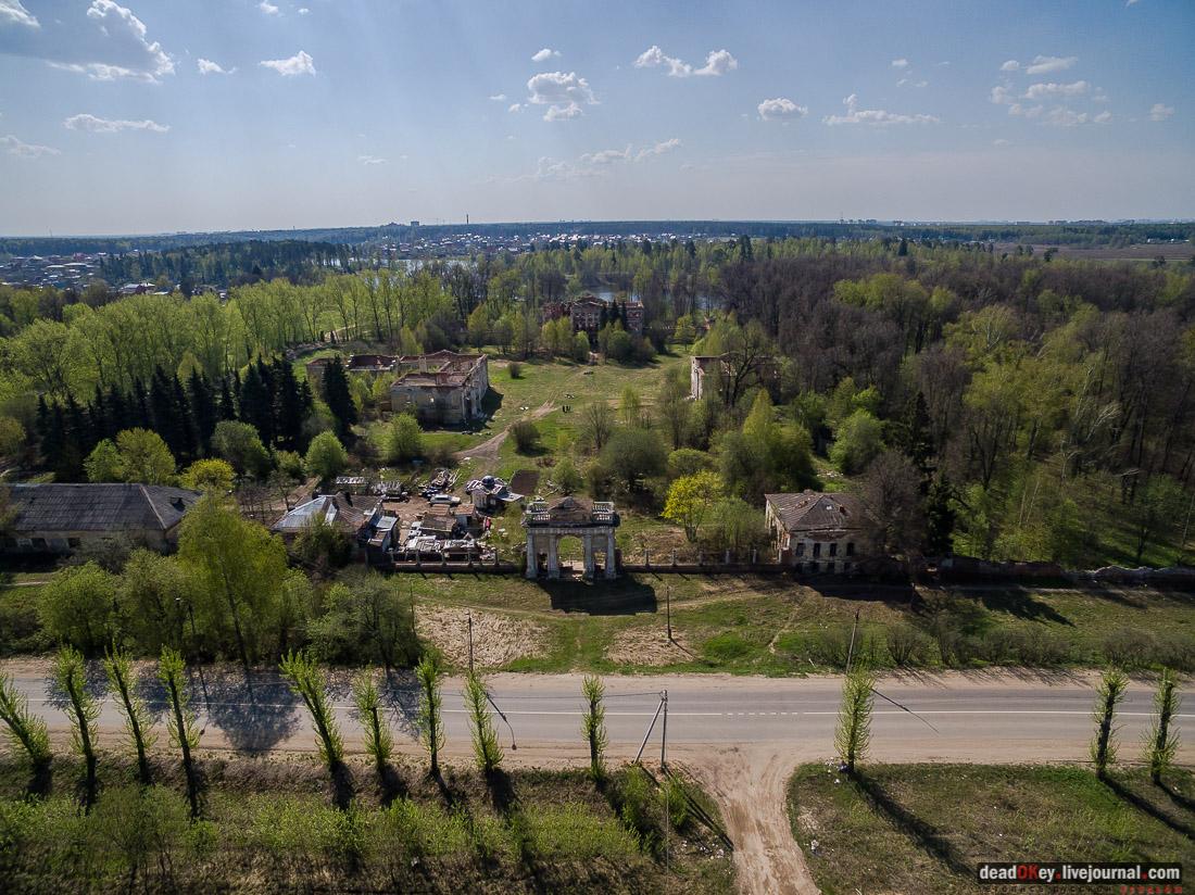усадьба Гребнево, обрушился главный дом, снимки с квадрокоптера