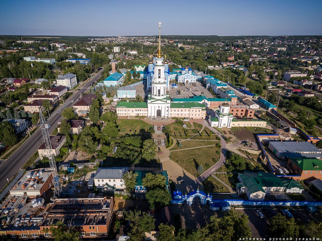 Задонск, Задонский Рождество-Богородицкий мужской монастырь с квадрокоптера, Липецкая область